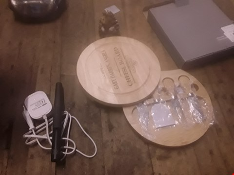 Lot 405 3 ITEMS INCLUDING PERSONALISED CHEESE BOARD, COLGATE OMRON, HEDGEHOG