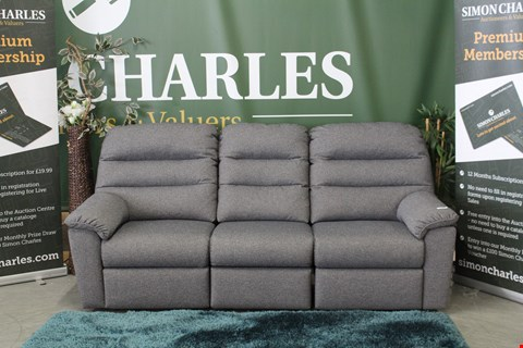 Lot 10015 QUALITY BRITISH MADE, CHARCOAL FABRIC MANUAL RECLINING 3 SEATER SOFA