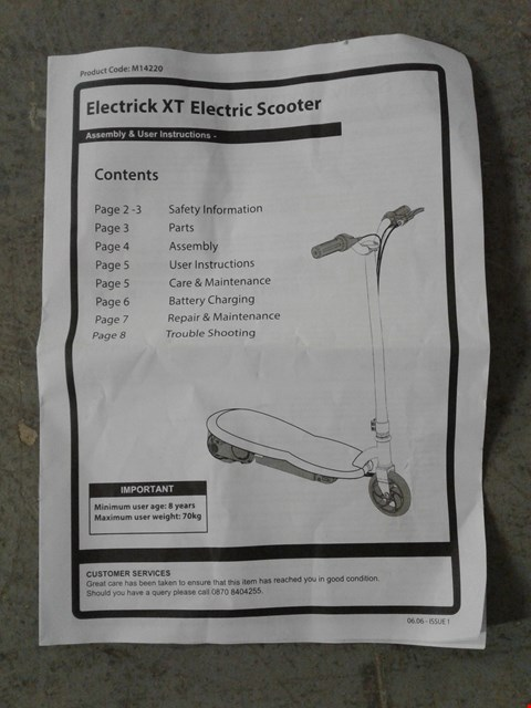 Lot 2162 ELECTRIC XT POWERED SCOOTER RRP £95