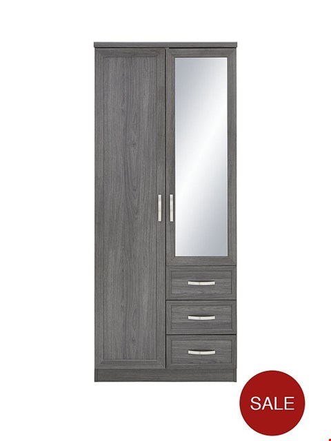 Lot 7055 BOXED GRADE 1 CAMBERLEY OAK 2 DOOR 3 DRAWER MIRRORED WARDROBE - 2 BOXES