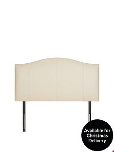 Lot 2046 BOXED GRADE 1 FAUX LEATHER CURVE DOUBLE HEADBOARD CREAM ( 1 BOX )