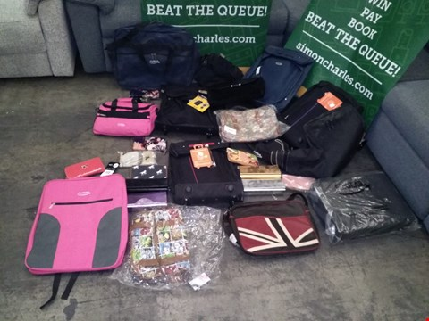 Lot 9144 BOX OF APPROXIMATELY 50 BAGS TO INCLUDE CITIES VALENCIA 42L BLACK CARRY ON BAG, FLYGEAR BACK BREIFCASE, CLUTCH BAG VARIOUS COLOURS, FLYGEAR PINK CABIN BACKPACK, ETC