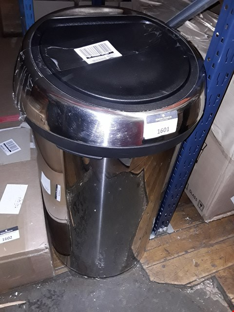 Lot 1601 BRILLIANT STEEL 60 LITRE TOUCH BIN RRP £195
