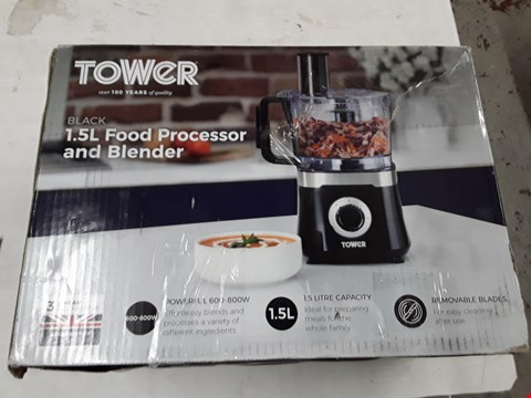 Lot 537 TOWER T18004 FOOD PROCESSOR WITH 1.4 LITRE BLENDING JUG & 1.5 LITRE FOOD PROCESSOR BOWL 600 W