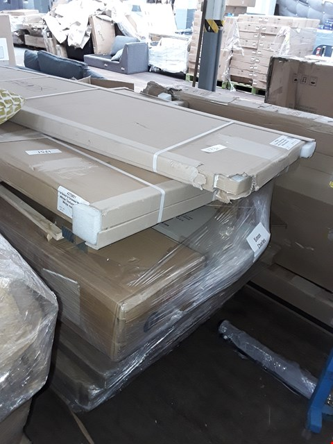 Lot 312 PALLET OF ASSORTED FLAT PACK FURNITURE/PARTS TO INCLUDE WHITE MELAMINE TWO DRAWER TWO DOOR WARDROBE PARTS, WHITE MELAMINE 2+4 CHEST PARTS ETC