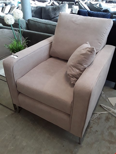 Lot 78 DESIGNER CAMEL FABRIC VINTAGE STYLE EASY CHAIR