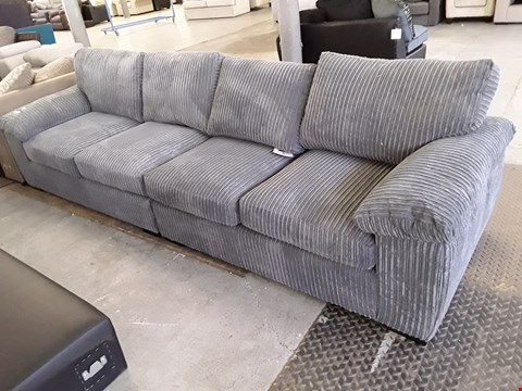 Lot 10 TWO DESIGNER GREY JUMBO CHORD TWO SEATER SECTIONS, MAKING FOUR SEATER SOFA