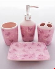 Lot 336 BOX OF 4 BUTTERY BATHROOM ACCESSORY SETS IN DUSKY PINK