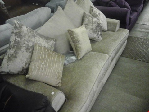 Lot 73 DESIGNER GOLD FABRIC 3 SEATER SOFA WITH SCATTER CUSHIONS