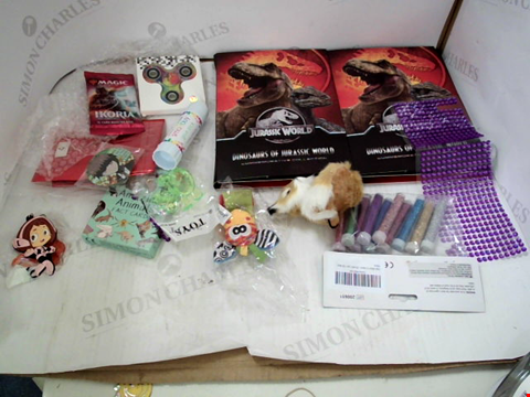 Lot 3041 BOX OF ASSORTED TOYS AND COLLEECTABLES TO INCLUDE; JURASSIC WORLD COLECTABLES, MAGIC THE GATHERING CARDS, FIDGET SPINNERS, KEY RINGS AND CRAFT ITEMS