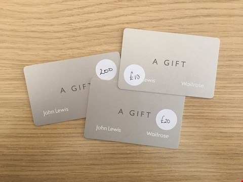 Lot 31 3 JOHN LEWIS GIFT CARDS.  TOTAL VALUE £230
