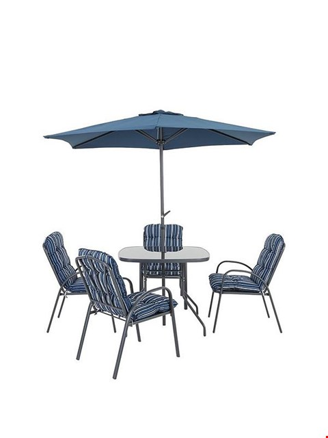Lot 7120 BOXED GRADE 1 BARCELONA 6 PIECE DINING SET BLUE/WHITE - 1 BOX
