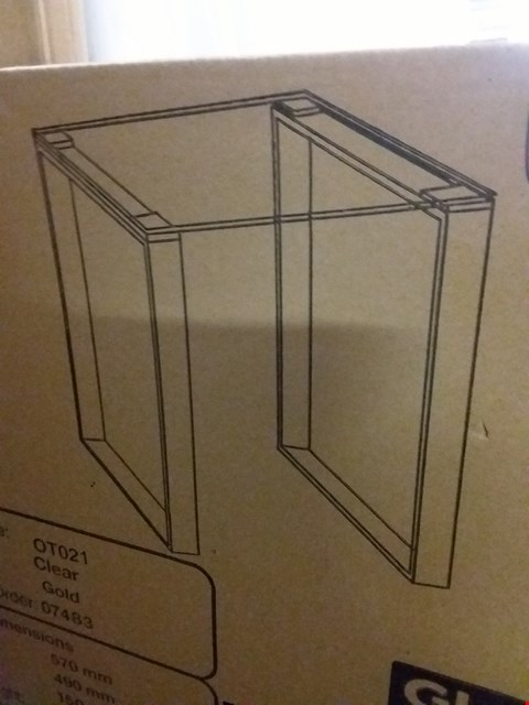 Lot 17253 BOXED DESIGNER CLEAR GLASS TOPPED TABLE - GOLD