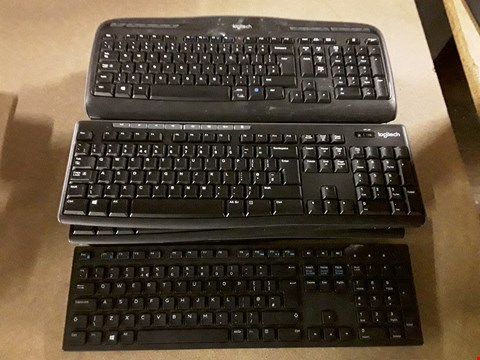 Lot 8126 LOT OF APPROXIMATELY 10 ASSORTED UNBOXED WIRELESS LOGITECH KEYBOARDS