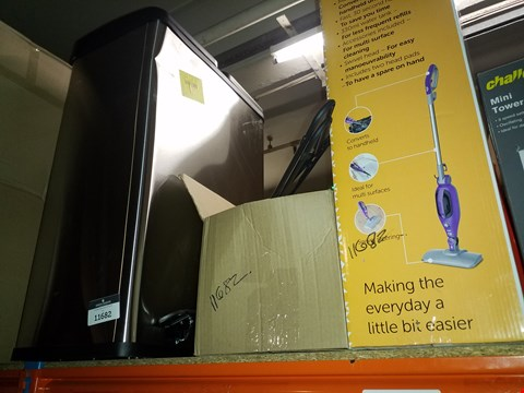 Lot 2579 A BIN, A SELECTION IF COAT HANGERS AND A BUSH MULTIFUNCTION STEAM MOP