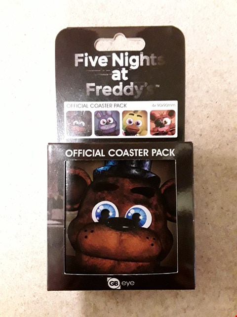 Lot 35 LOT OF 2 BRAND NEW FIVE NIGHTS AT FREDDY'S ITEMS TO INCLUDE A MUG AND AN OFFICIAL PACK OF COASTERS