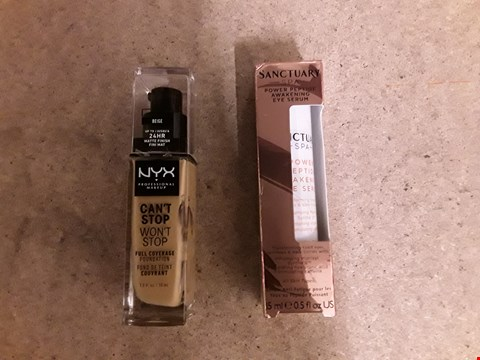Lot 2476 LOT OF 3 BEAUTY ITEMS TO INCLUDE A DOVE CLASSIC BEAUTY COLLECTION GIFT SET, SANCTUARY SPA POWER PEPTIDE EYE SERUM AND CAN'T STOP WON'T STOP 24 HOUR FOUNDATION RRP £65
