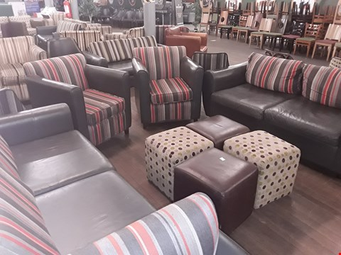 Lot 65 8 X ASSORTED FURNITURE ITEMS INCLUDING VARIOUS POUFFES , 2 SEATER GREY LEATHER SOFA AND STRIPED FABRIC DESIGN ARMCHAIR