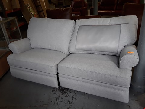 Lot 162 QUALITY BRITISH DESIGNER GREY FABRIC POWER RECLINING 3 SEATER SOFA