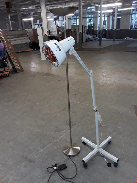 Lot 175 LOT OF 2 FLOOR LAMPS TO INCLUDE UPLIGHTER AND WHEELED ADJUSTABLE