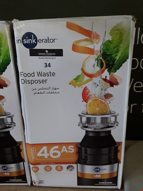 Lot 34 BOXED INSINKERATOR 46AS FOOD WASTE DISPOSER RRP £102.00
