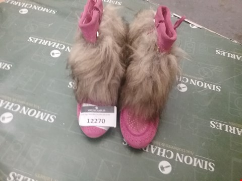 Lot 12270 PAIR OF PINK BOOTS WITH FAUX FUR TRIM - SIZE UNSPECIFIED