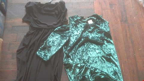 Lot 2099 A BOX OF APPROXIMATELY 37 ASSORTED ITEMS OF CLOTHING INCLUDING CRUSHED VELVER COLD SHOULDER TOP, TAPERED TROUSERS, CREPE TROUSERS, AND MORE