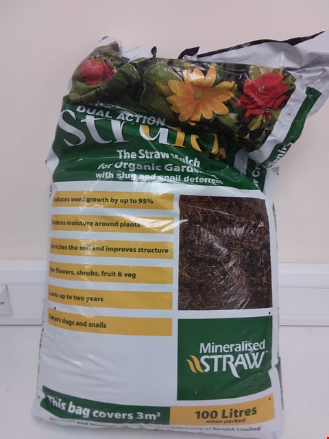 Lot 9070 STRULCH MINERALISED STRAW MULCH & SLUG DETERRANT 100L BAG RRP £19.00