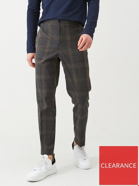Lot 3676 BRAND NEW SELECTED HOMME CHECKED ELASTICATED WAISTBAND TROUSERS - GREY SIZE M
