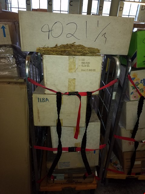 Lot 10036 4 CAGES OF APPROXIMATELY 26 BOXES OF DRIED FLOWERS (CAGES NOT INCLUDED)