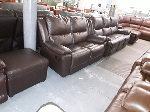 Lot 10007 DESIGNER DERBY CHESTNUT LEATHER MANUAL RECLINING THREE AND TWO SEATER SOFAS AND FOOTSTOOL RRP £2899