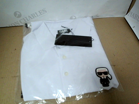 Lot 7167 KARL LAGERFELD MINI KARL LOGO WHITE POLO SHIRT - SIZE MEDIUM