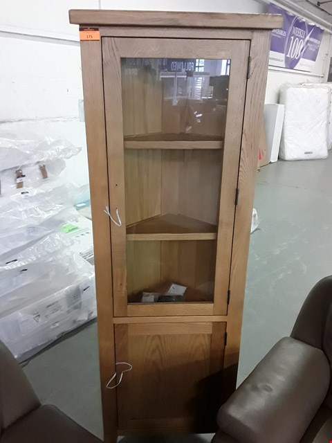 Lot 175 DESIGNER OAK AND OAK VENEER PARTIALLY GLAZED CAMBRIDGE CORNER DISPLAY CABINET  RRP £998.00
