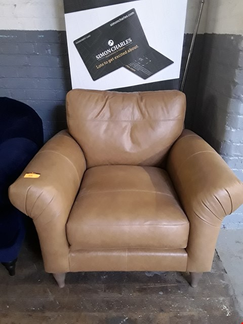 Lot 209 QUALITY BRITISH DESIGNER TAN LEATHER ARMCHAIR ON TURNED WOODEN FEET