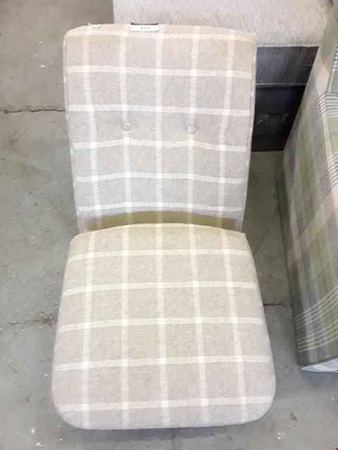 Lot 74 QUALITY DESIGNER BEIGE FABRIC CHECKERED ARMLESS CHAIR