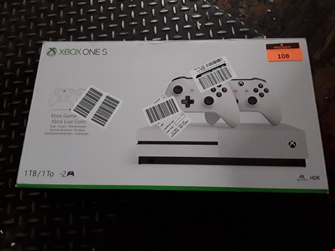 Lot 108 XBOX ONE S 4K BLUE-RAY 1TB GAMING CONSOLE ( MISSING CONTROLLERS)
