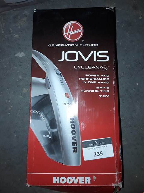 Lot 235 HOOVER JOVIS CYCLECLEAN CORDLESS HAND VACUUM