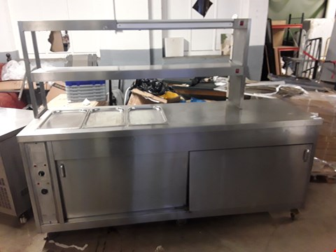Lot 15077 PORTABLE HEATED SERVING UNIT WITH BAIN MARIE TOP AND HEATED CUPBOARDS