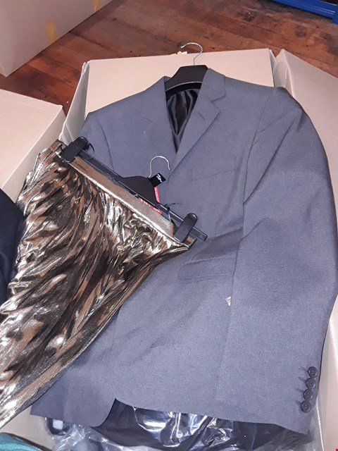 Lot 9 A BOX OF APPROXIMATELY 9 ASSORTED CLOTHING ITEMS TO INCLUDE , DARK GREY SUIT JACKETS , LADIES GOLD SKIRT AND LADIES BLACK FUAX FUR COAT  ETC