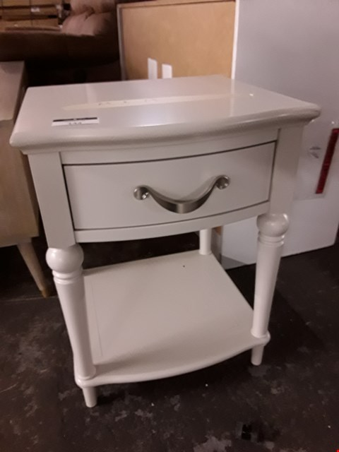 Lot 144 WHITE DECORATIVE 1 DRAWER BEDSIDE CABINET