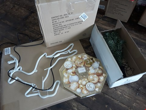Lot 11203 LOT OF 4 GRADE 1 CHRISTMAS ITEMS TO INCLUDE WREATH ADVENT, 3PC TREE STAKE LIGHTS AND LIGHT UP REINDEER  (4 BOXES)