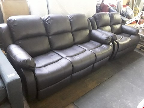 Lot 7052 DESIGNER BROWN FAUX LEATHER MANUAL RECLINING THREE & TWO SEATER SOFAS