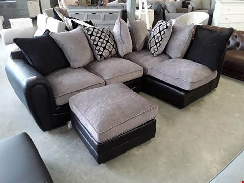 Lot 118 DESIGNER BLACK FAUX LEATHER AND GREY FABRIC CORNER SOFA WITH SCATTER BACK CUSHIONS AND ACCOMPANYING FOOTSTOOL