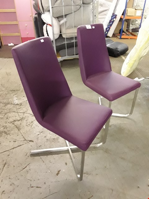 Lot 78 PAIR OF DESIGNER PURPLE LEATHER-EFFECT DINING CHAIRS ON CHROME-EFFECT FEET