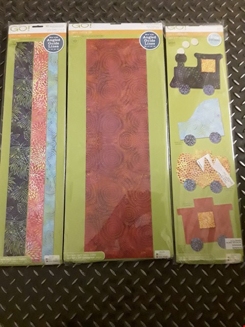 "Lot 1635 LOT OF 3 ASSORTED ACCUQUILT GO! FABRIC CUTTING DIES TO INCLUDE STRIP CUTTER-6 1/2"", TRAIN, STRIP CUTTER-1, 1 1/2"", 2"""