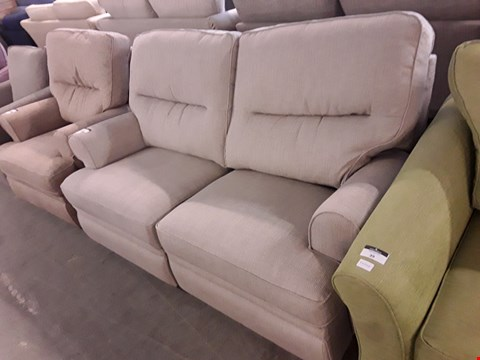 Lot 38 QUALITY BRITISH DESIGNER NATURAL WEAVE FABRIC MANUAL RECLINING 2 SEATER SOFA