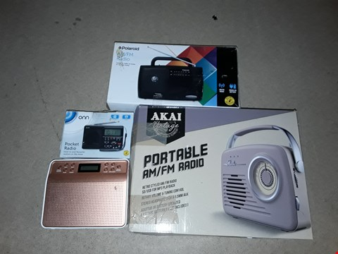 Lot 3526 LOT OF 8 ASSORTED RADIOS TO INCLUDE AKAI PORTABLE AM/FM RADIO, POLAROID AM/FM RADIO AND ONN POCKET RADIO