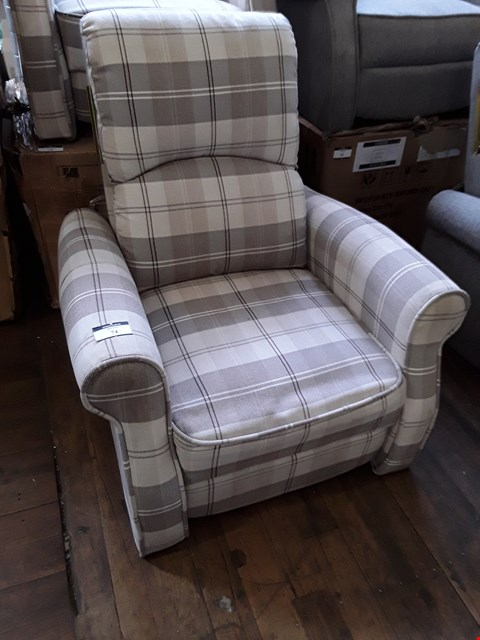 Lot 2008 DESIGNER EATON BEIGE CHECKED FABRIC PUSH BACK RECLINING EASY CHAIR