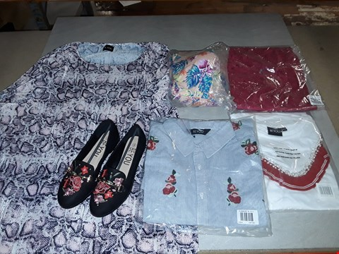 Lot 3059 LARGE QUANTITY OF ASSORTED CLOTHING ITEMS TO INCLUDE BE YOU STRIPED SHIRTS, LEOPARD PRINT BLOUSES AND LADIES SHOES