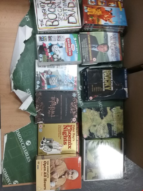Lot 12069 A BOX OF APPROXIMATELY 19 ASSORTED DVD/BOXSETS TO INCLUDE A THOMAS AND FRIENDS MOVIE PACK AND THE COMPLETE OPEN ALL HOURS SERIES 1 - 4